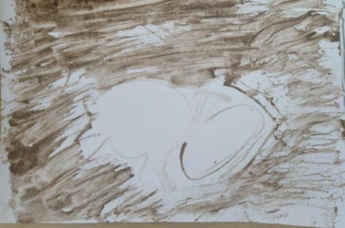Anon negative space stick and mud drawing