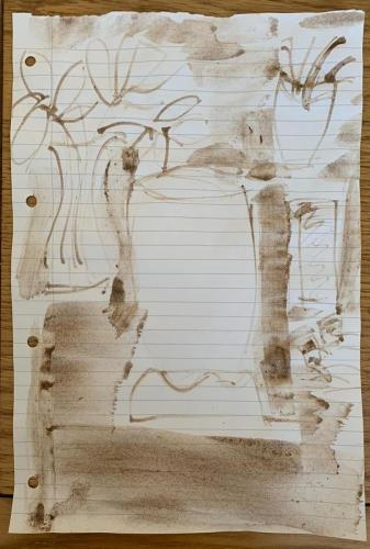 Lucie negative space stick and mud drawing